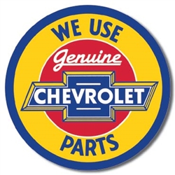 Chevy Round Geniune Parts tin signs