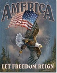 American - Let Freedom Reign Tin Signs
